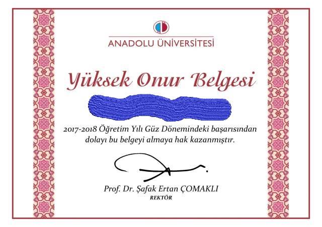 Anadolu aöf adalet üçüncü dönem yüksek onur belgesi