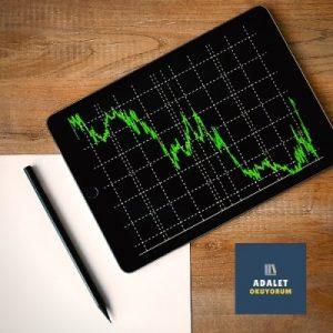 borsa çizgileri olan bir tablet bilgisayar